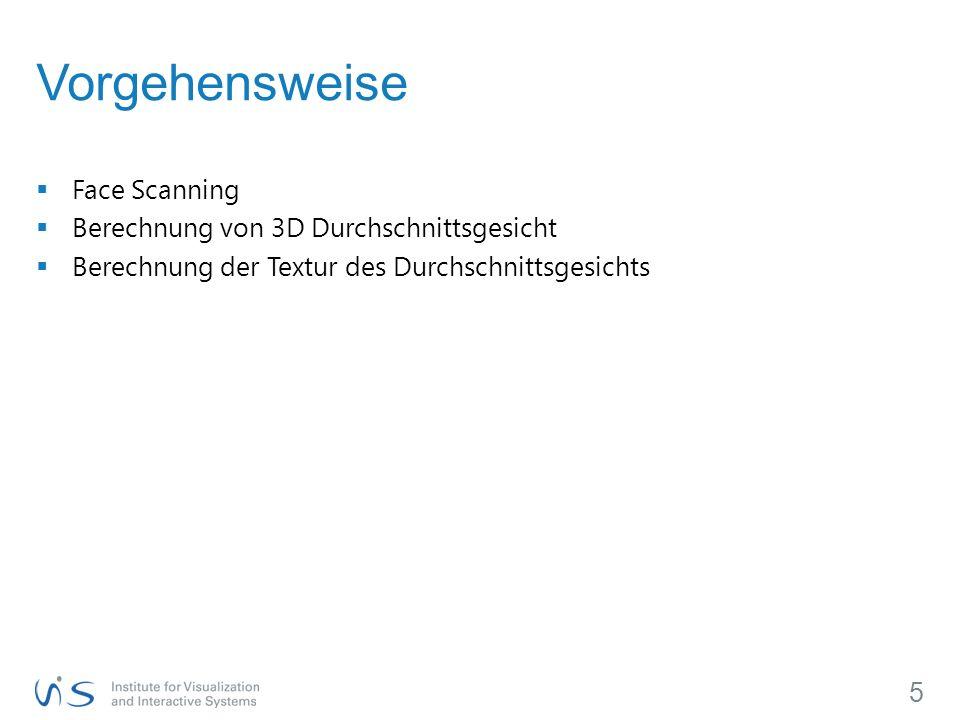 Vorgehensweise Face Scanning Berechnung von 3D Durchschnittsgesicht