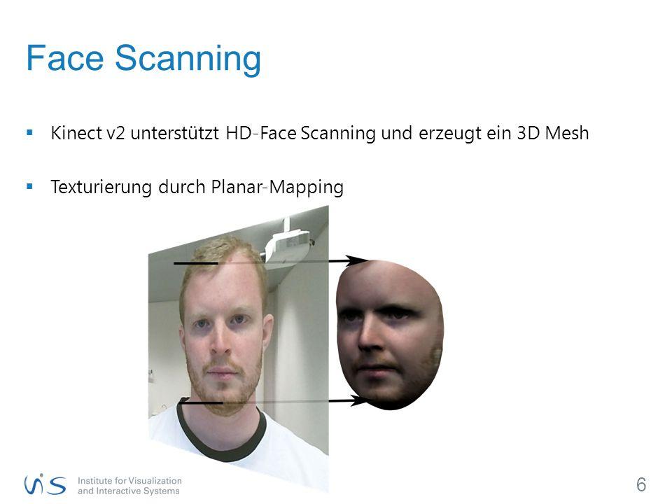 Face Scanning Kinect v2 unterstützt HD-Face Scanning und erzeugt ein 3D Mesh.
