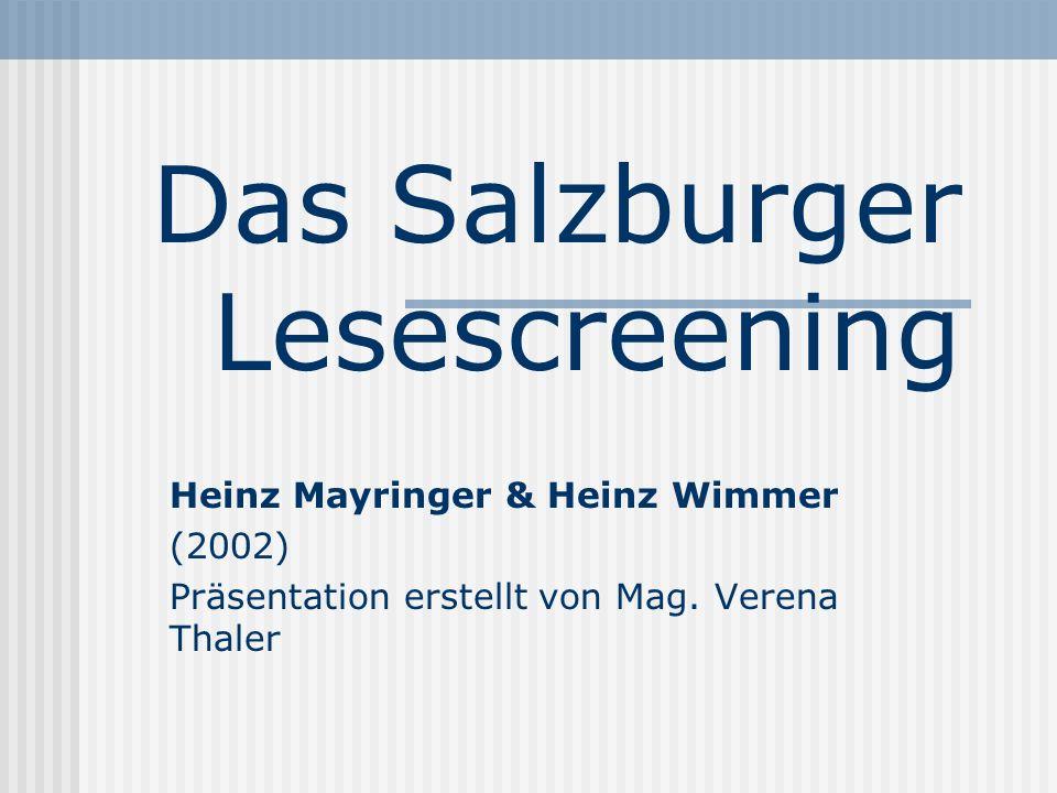 Das Salzburger Lesescreening