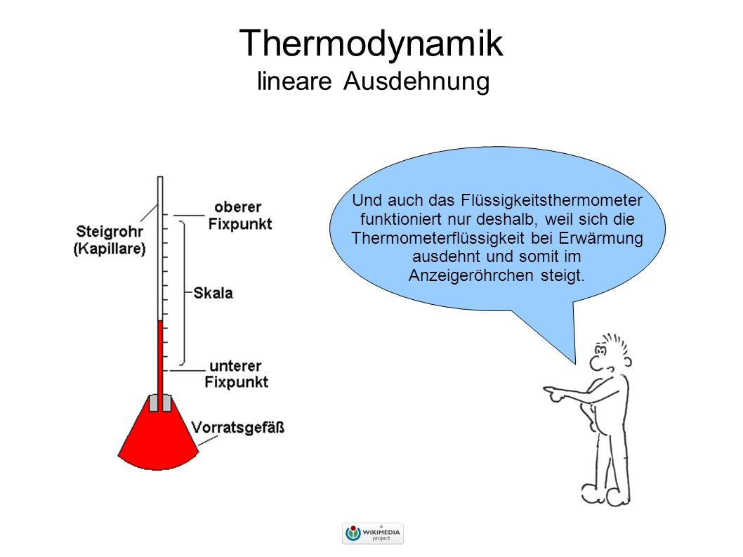 Thermodynamik lineare Ausdehnung Und auch das Flüssigkeitsthermometer