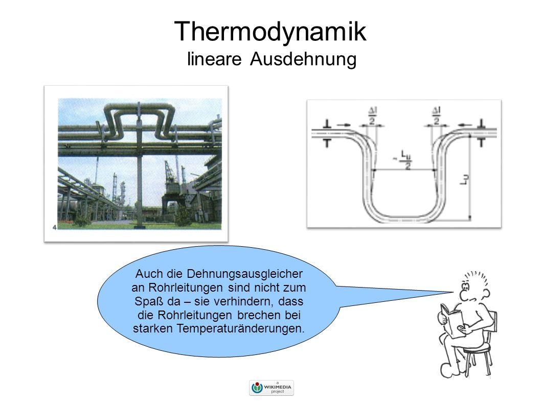 Thermodynamik lineare Ausdehnung Auch die Dehnungsausgleicher