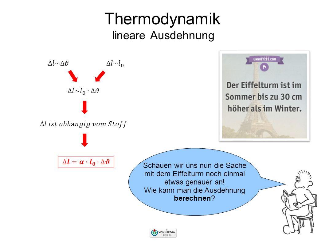 Thermodynamik lineare Ausdehnung ∆𝑙~∆𝜗 ∆𝑙~ 𝑙 0 ∆𝑙~ 𝑙 0 ∙∆𝜗