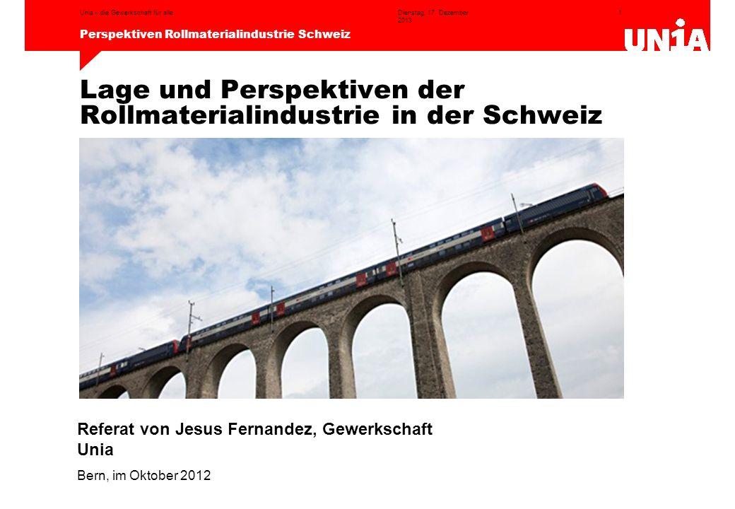 Lage und Perspektiven der Rollmaterialindustrie in der Schweiz