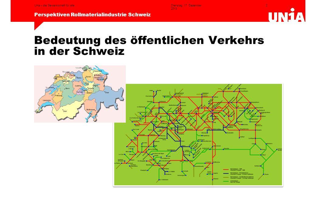 Bedeutung des öffentlichen Verkehrs in der Schweiz