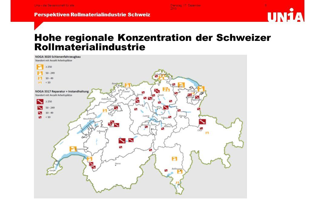 Hohe regionale Konzentration der Schweizer Rollmaterialindustrie