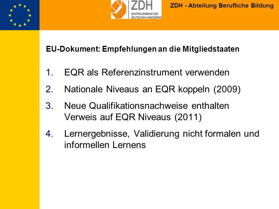 EU-Dokument: Empfehlungen an die Mitgliedstaaten