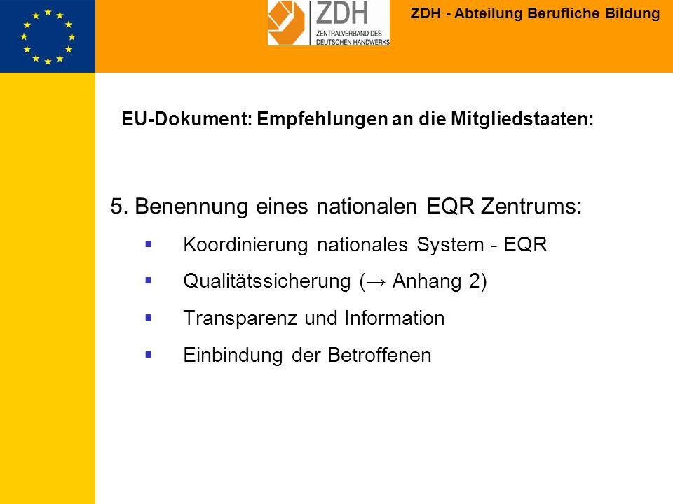 EU-Dokument: Empfehlungen an die Mitgliedstaaten: