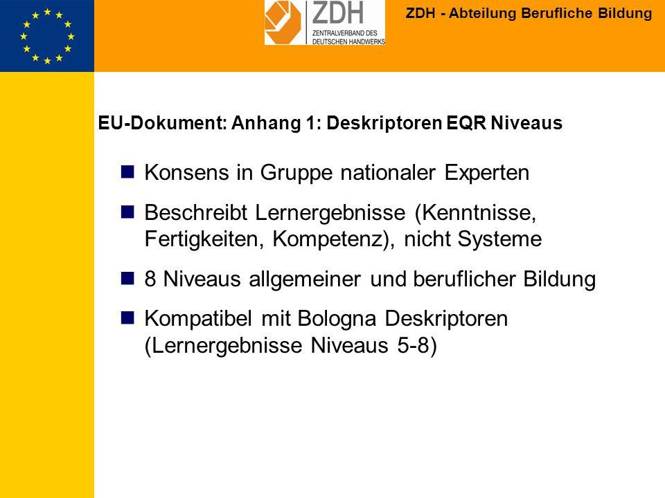 EU-Dokument: Anhang 1: Deskriptoren EQR Niveaus