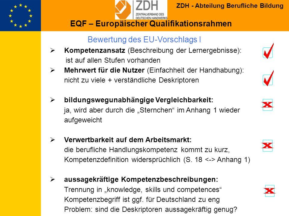 Bewertung des EU-Vorschlags I