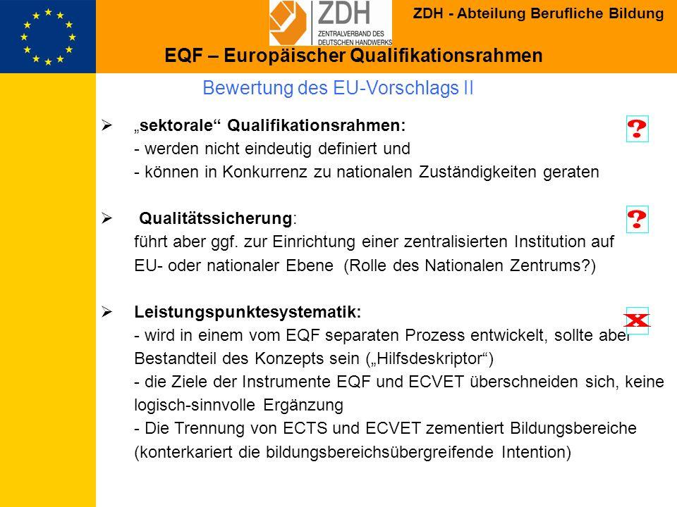 Bewertung des EU-Vorschlags II