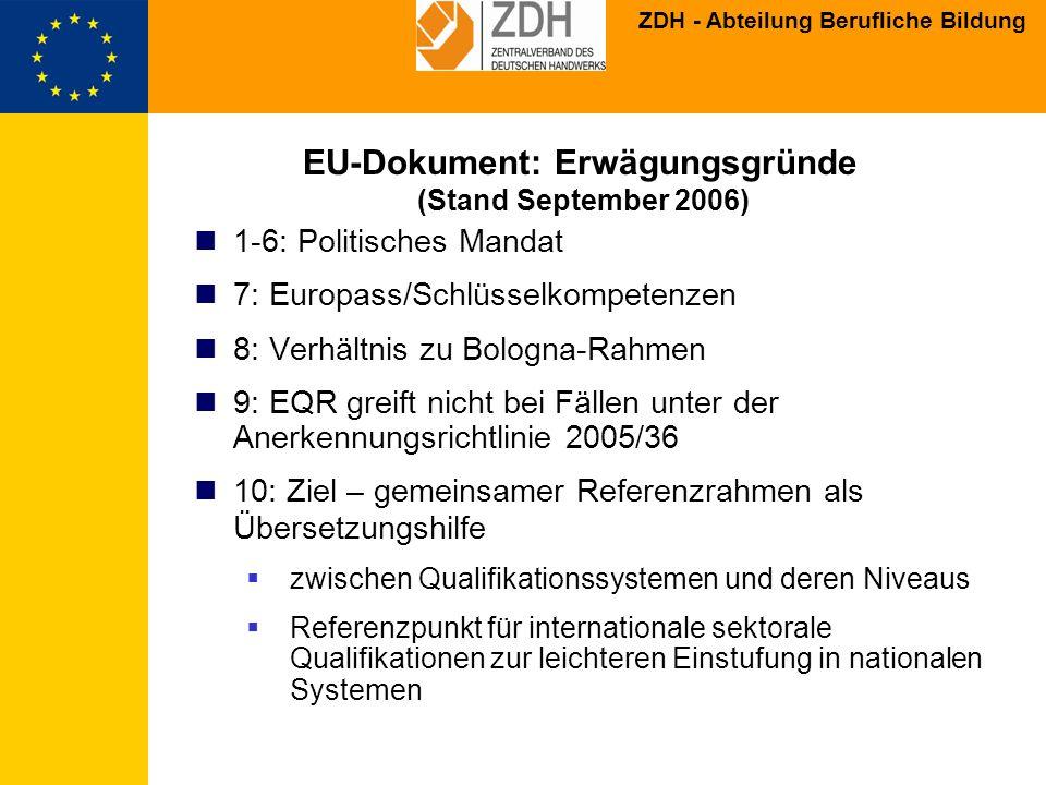 EU-Dokument: Erwägungsgründe (Stand September 2006)