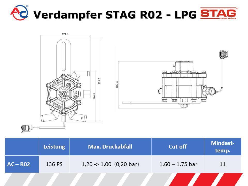 Verdampfer STAG R02 - LPG Leistung Max. Druckabfall Cut-off