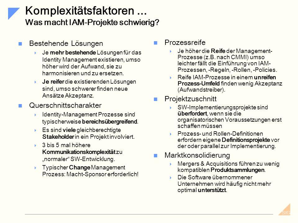 Komplexitätsfaktoren ... Was macht IAM-Projekte schwierig
