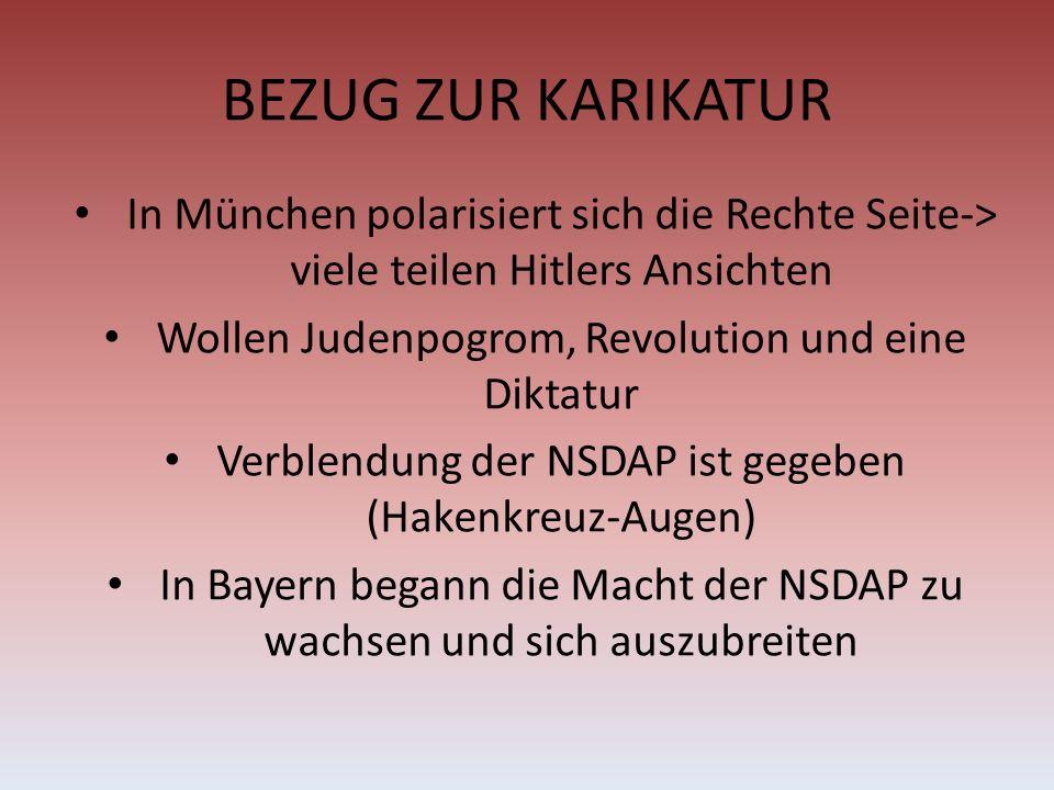 BEZUG ZUR KARIKATUR In München polarisiert sich die Rechte Seite-> viele teilen Hitlers Ansichten. Wollen Judenpogrom, Revolution und eine Diktatur.