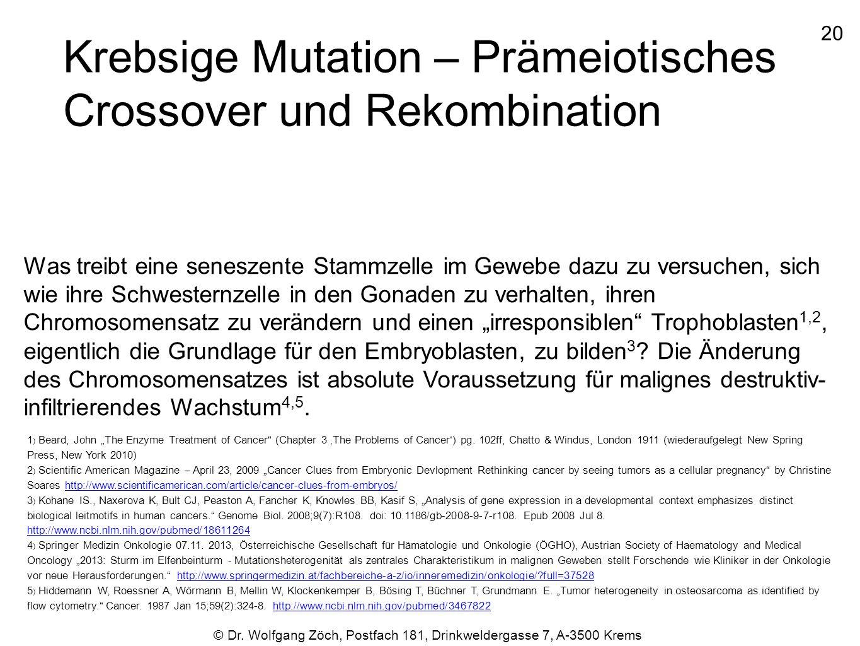 Krebsige Mutation – Prämeiotisches Crossover und Rekombination