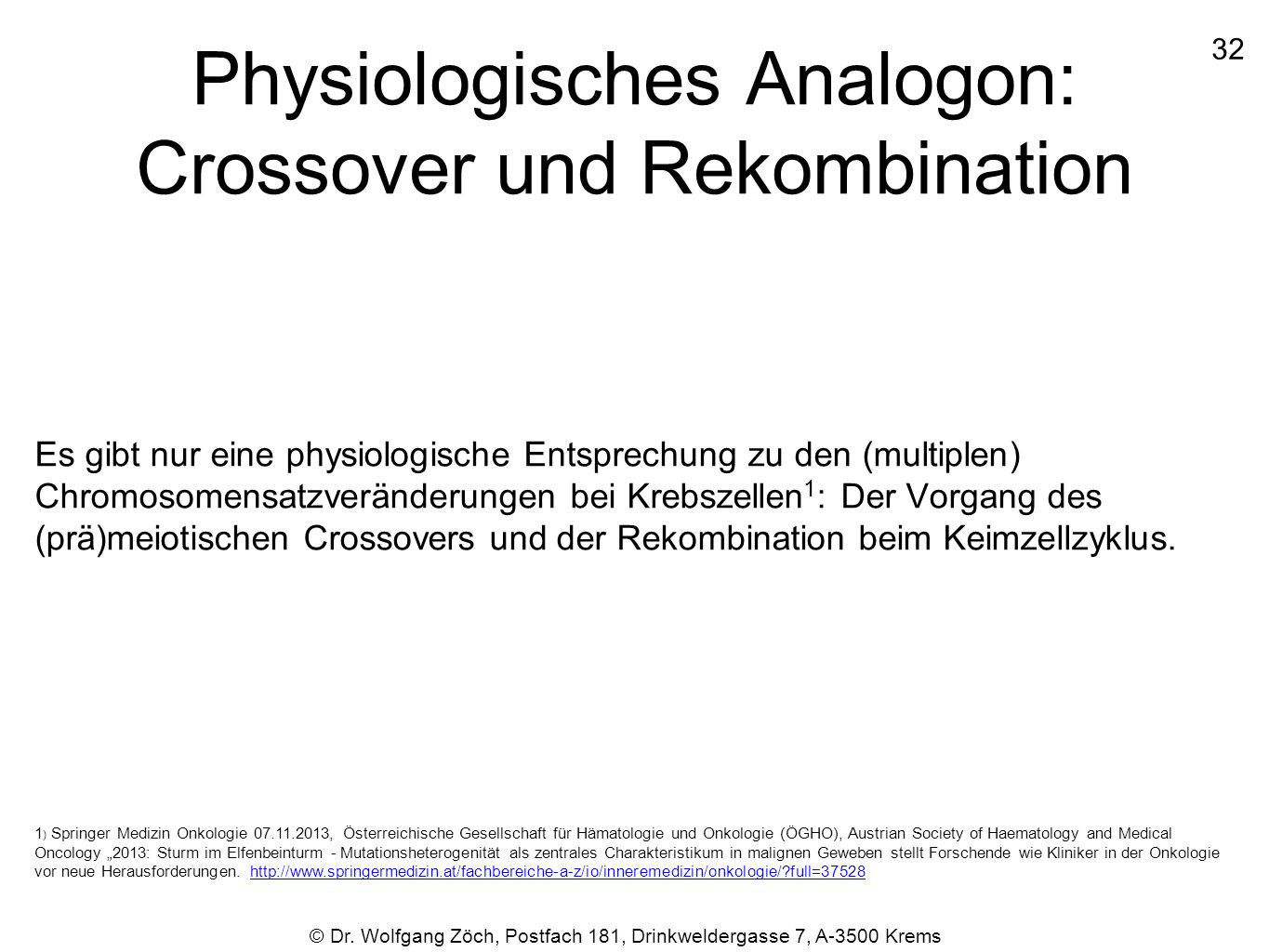 Physiologisches Analogon: Crossover und Rekombination