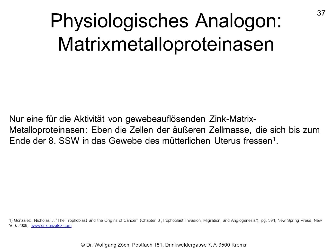 Physiologisches Analogon: Matrixmetalloproteinasen