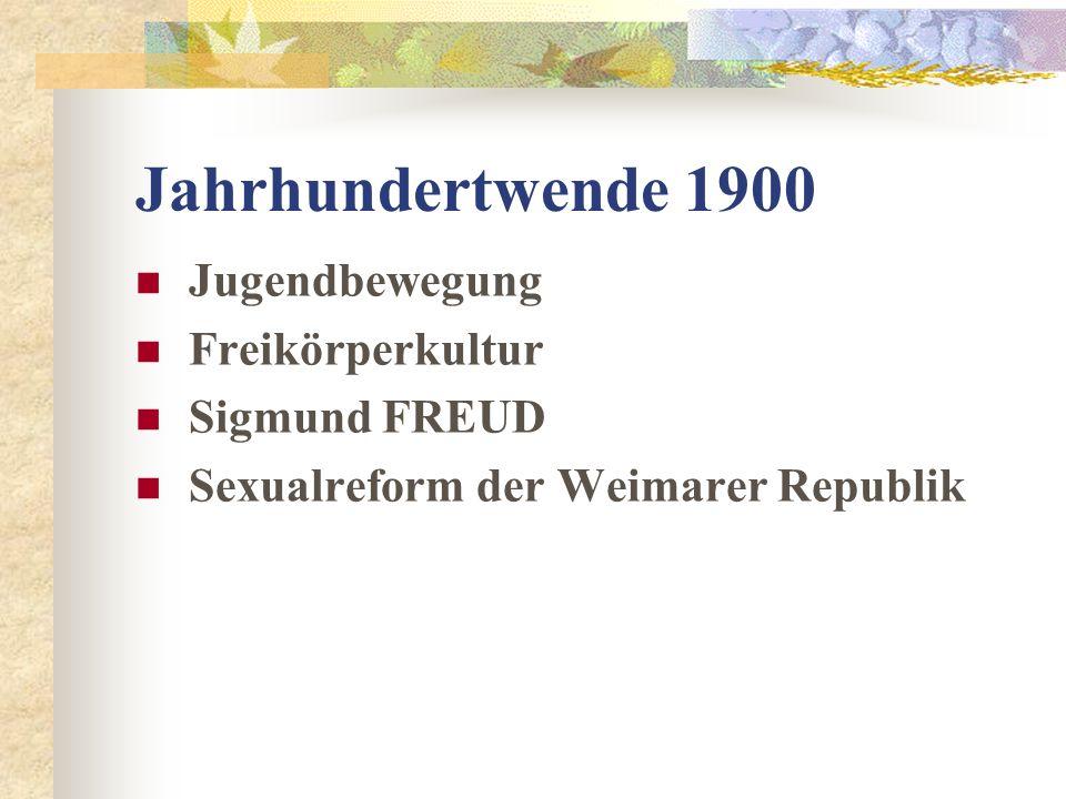 Jahrhundertwende 1900 Jugendbewegung Freikörperkultur Sigmund FREUD