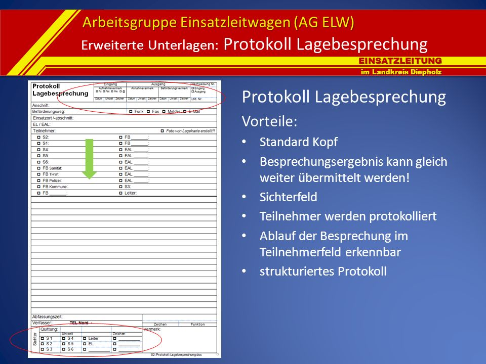 Erweiterte Unterlagen: Protokoll Lagebesprechung