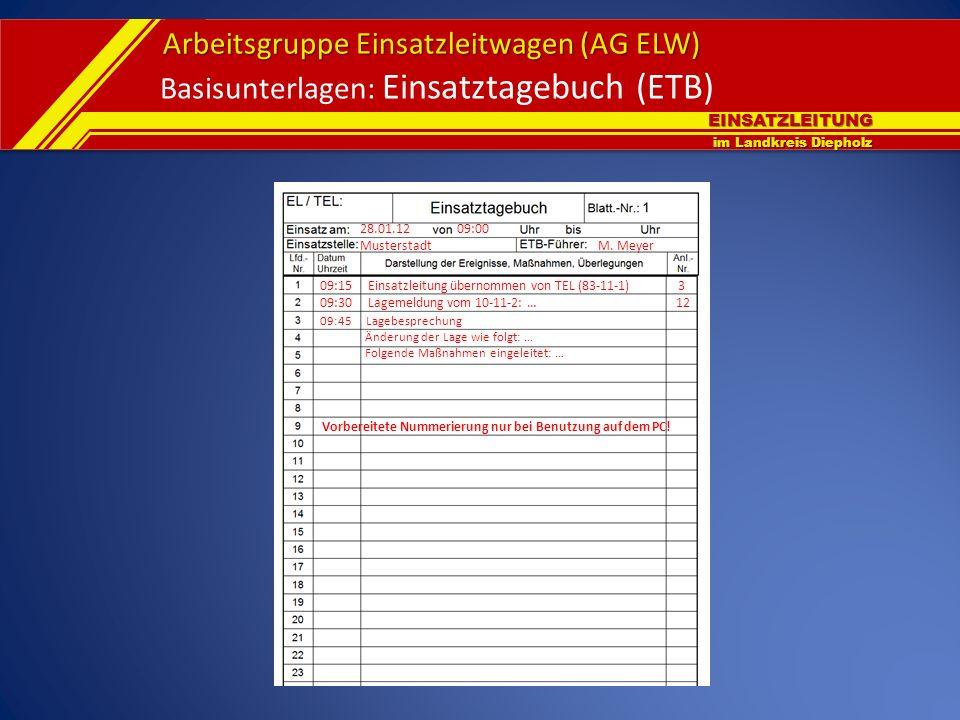 Basisunterlagen: Einsatztagebuch (ETB)