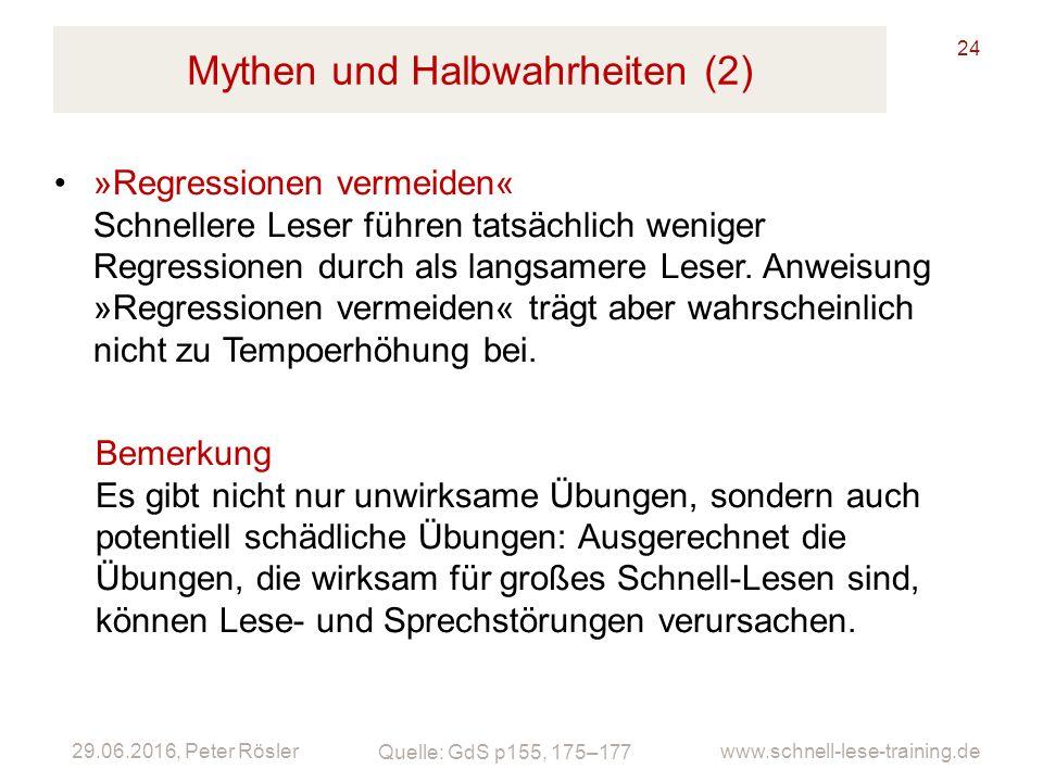 Mythen und Halbwahrheiten (2)