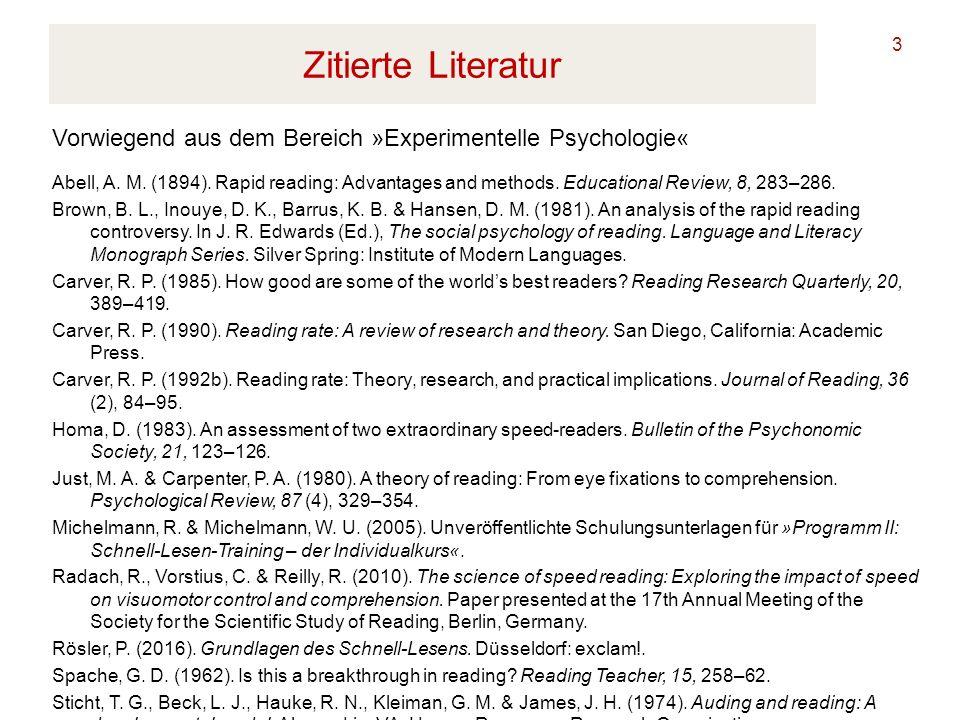 Zitierte Literatur Vorwiegend aus dem Bereich »Experimentelle Psychologie«