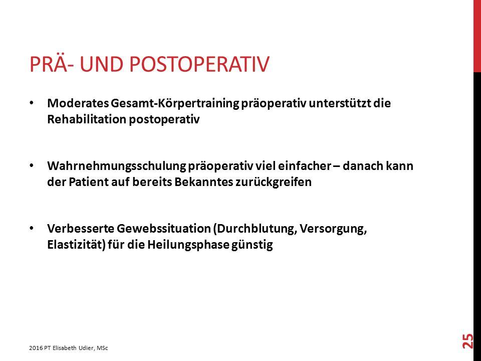 Prä- und postoperativ Moderates Gesamt-Körpertraining präoperativ unterstützt die Rehabilitation postoperativ.