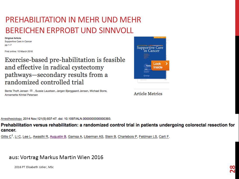 Prehabilitation in mehr und mehr Bereichen erprobt und sinnvoll