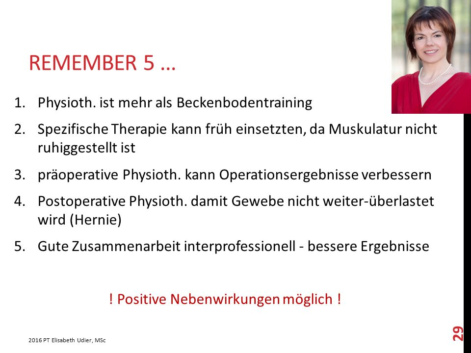 Remember 5 ... Physioth. ist mehr als Beckenbodentraining