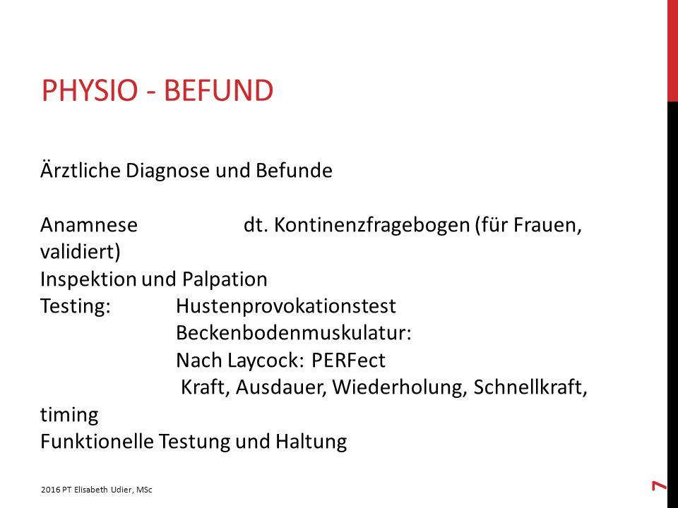 Physio - Befund Ärztliche Diagnose und Befunde