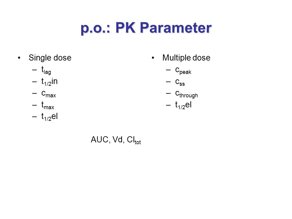p.o.: PK Parameter Single dose tlag t1/2in cmax tmax t1/2el
