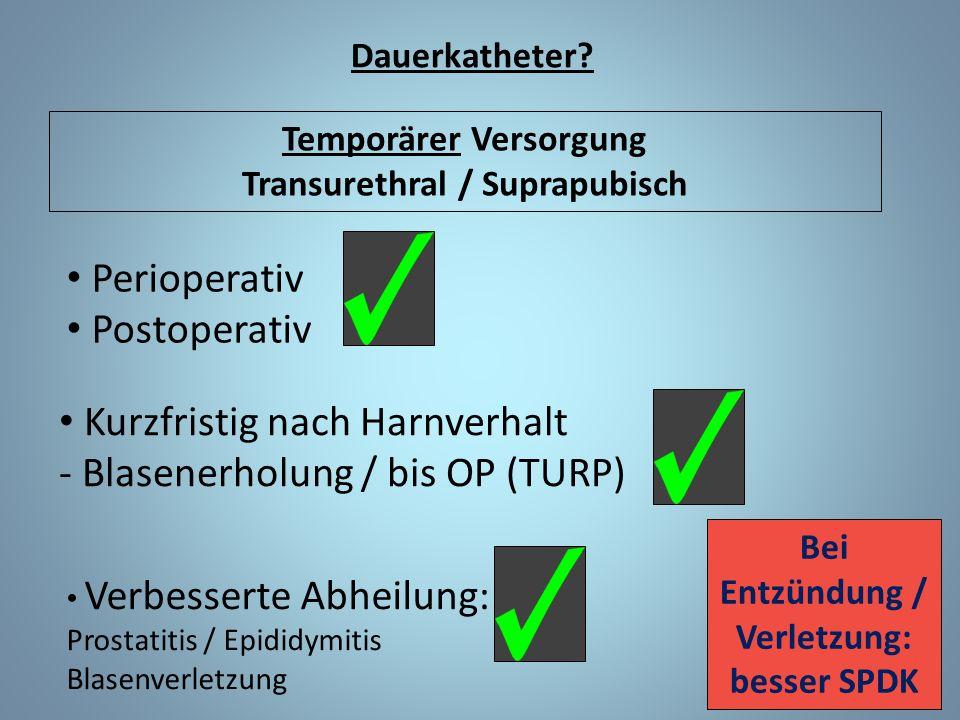 Kurzfristig nach Harnverhalt - Blasenerholung / bis OP (TURP)