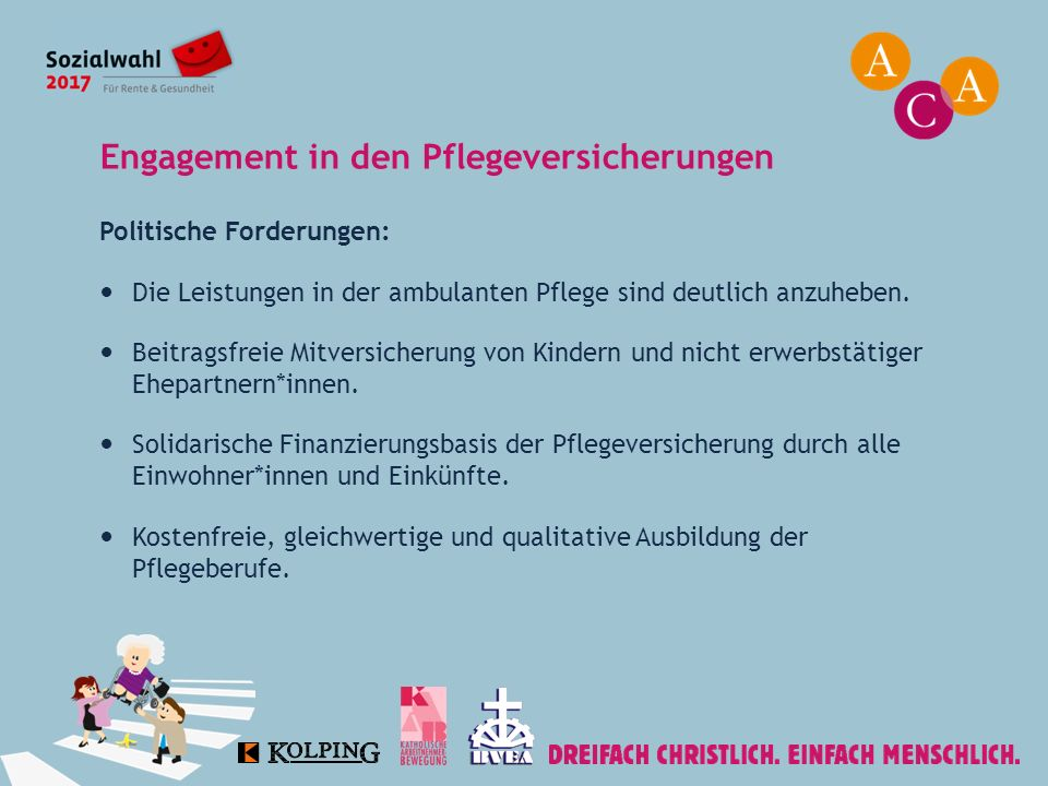 Engagement in den Pflegeversicherungen