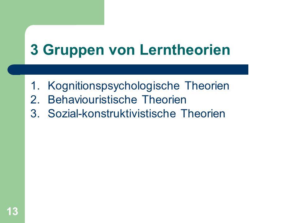 3 Gruppen von Lerntheorien