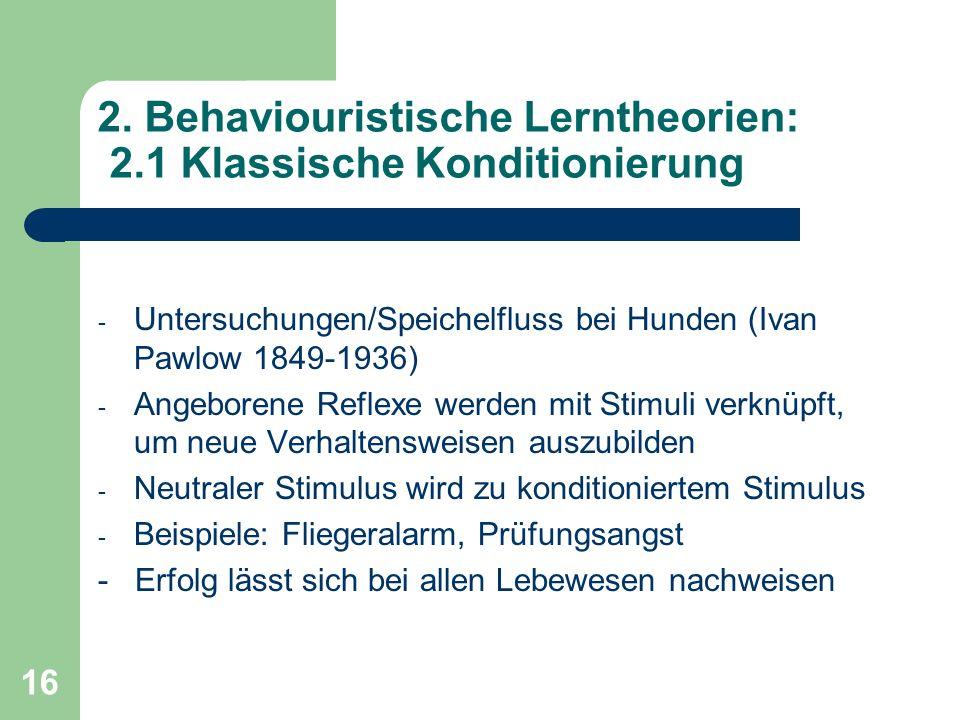 2. Behaviouristische Lerntheorien: 2.1 Klassische Konditionierung