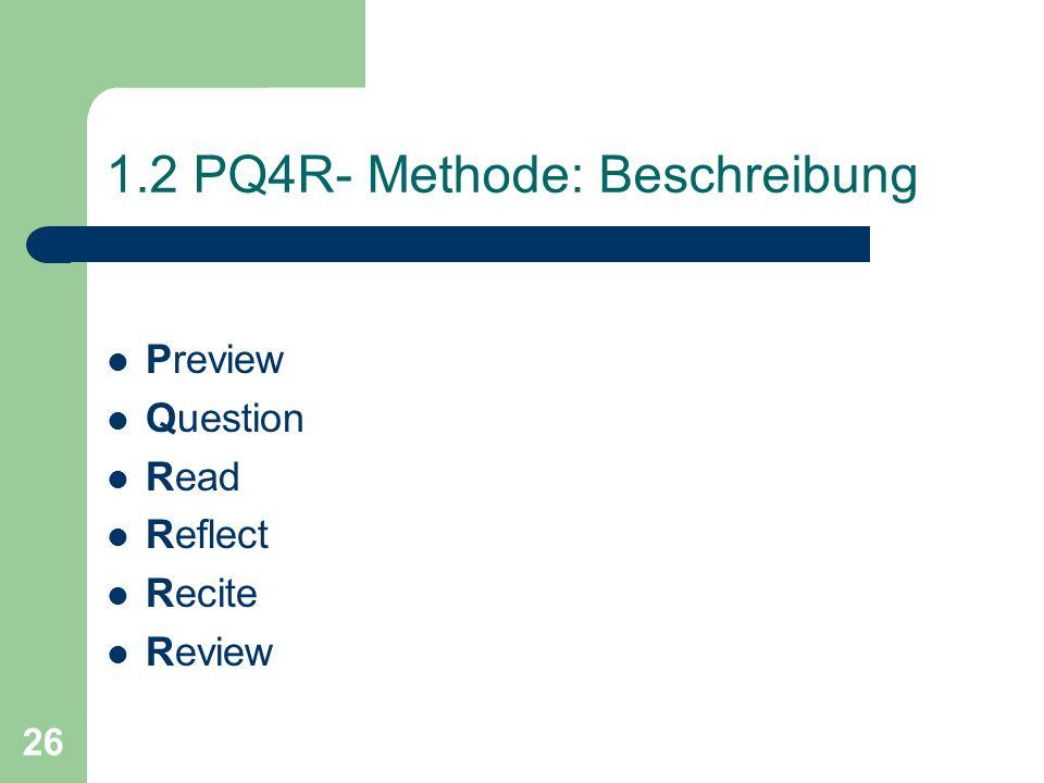 1.2 PQ4R- Methode: Beschreibung