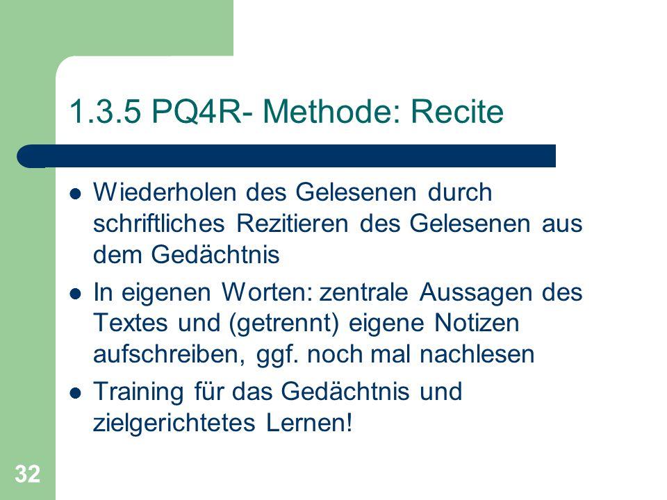 1.3.5 PQ4R- Methode: Recite Wiederholen des Gelesenen durch schriftliches Rezitieren des Gelesenen aus dem Gedächtnis.