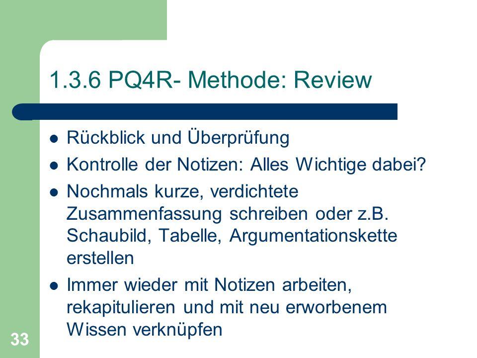 1.3.6 PQ4R- Methode: Review Rückblick und Überprüfung