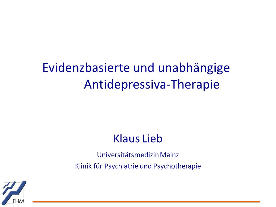 Evidenzbasierte und unabhängige Antidepressiva-Therapie