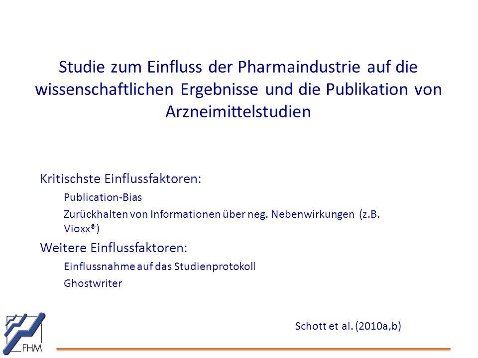 Studie zum Einfluss der Pharmaindustrie auf die wissenschaftlichen Ergebnisse und die Publikation von Arzneimittelstudien