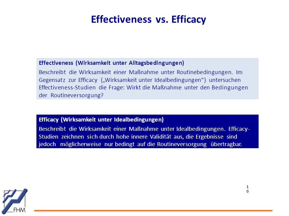 Effectiveness vs. Efficacy