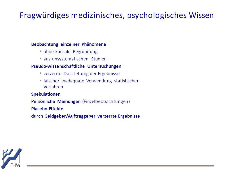Fragwürdiges medizinisches, psychologisches Wissen