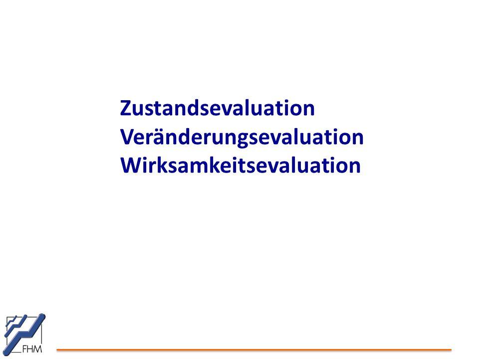 Zustandsevaluation Veränderungsevaluation Wirksamkeitsevaluation