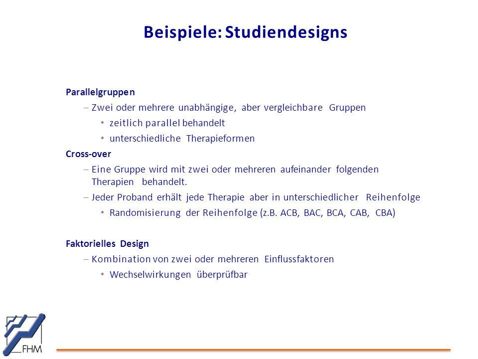 Beispiele: Studiendesigns