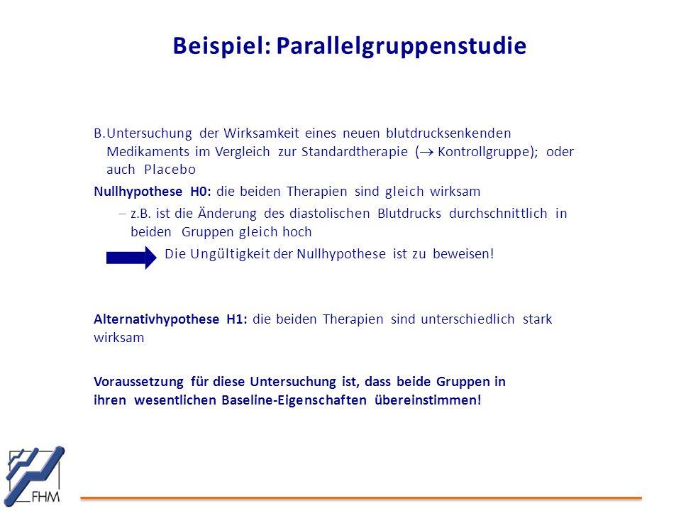 Beispiel: Parallelgruppenstudie