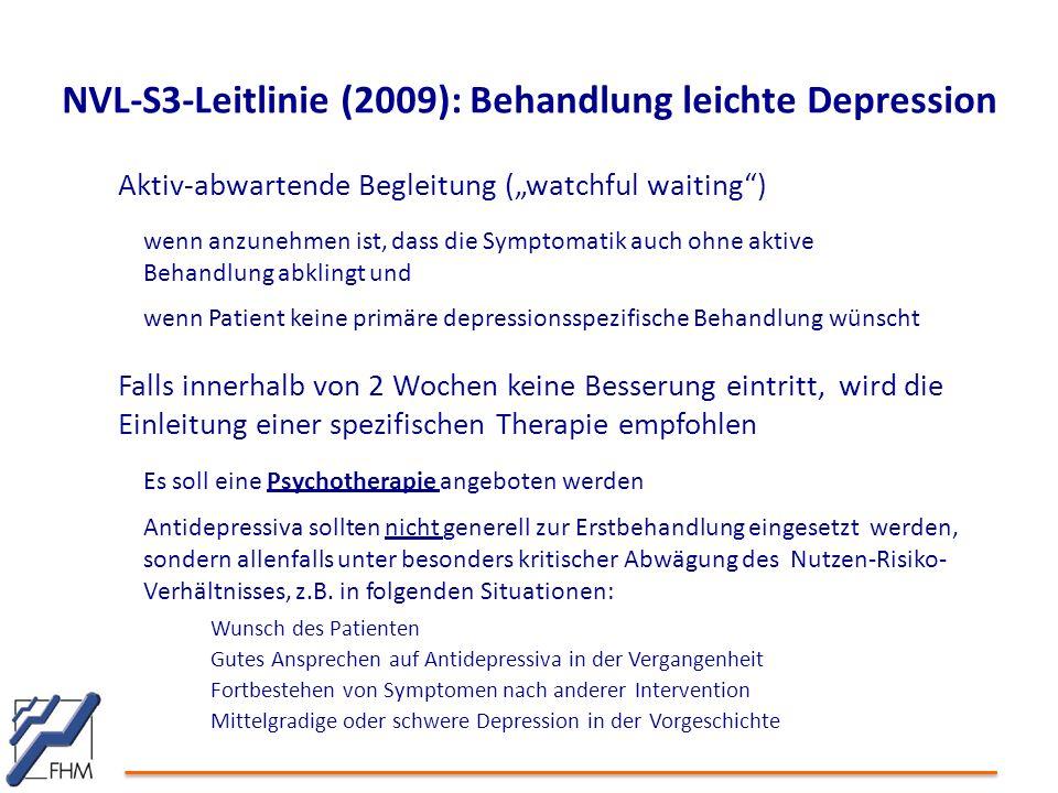 NVL-S3-Leitlinie (2009): Behandlung leichte Depression
