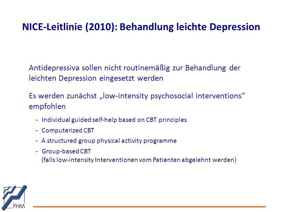 NICE-Leitlinie (2010): Behandlung leichte Depression