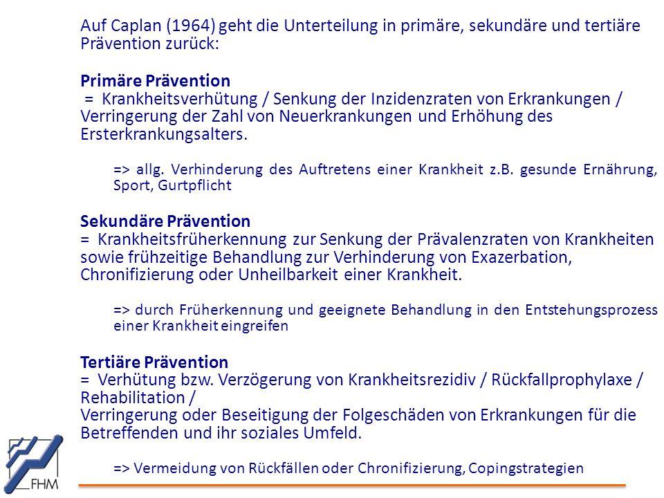 Auf Caplan (1964) geht die Unterteilung in primäre, sekundäre und tertiäre Prävention zurück: