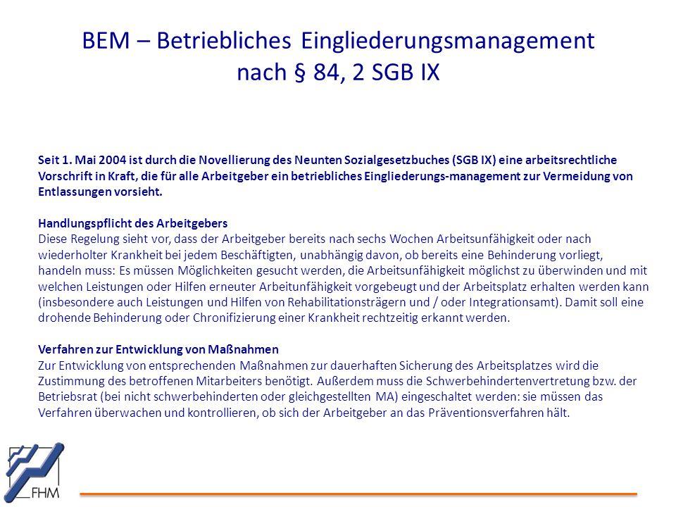 BEM – Betriebliches Eingliederungsmanagement nach § 84, 2 SGB IX