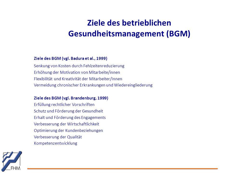 Ziele des betrieblichen Gesundheitsmanagement (BGM)